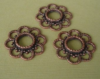 8 pcs- Antiqued Copper  Plated Alloy Round Charms.