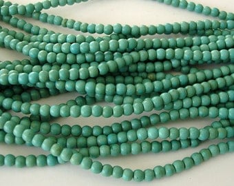 2 Strands-Natural  Turquoise  Round Beads  4mm.