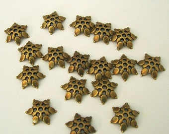 50-Antiqued Bronze Flower Bead Cap 12mm.