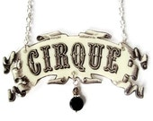 Circus Cirque Necklace Banner Tattoo Statement Jewelry Beige Black Trapeze Vintage Illustration Acrobat Carnival PT Barnum