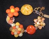 Vintage Earring Bracelet, Bridesmaid Gift, Upcycled, Yellow, Orange, Tangerine, Gold, Cluster, Flower, Jennifer Jones,OOAK - Sunrise Sampler