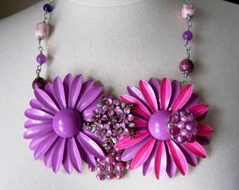 Statement Necklace, Vintage Enamel Flowers, Upcycled, Repurposed Vintage Brooch, Jennifer Jones, Upcycled, Purple, Pink  OOAK - Twin Set