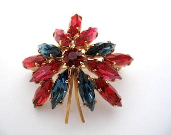 Vintage Rhinestone Brooch - Red, Pink, Blue Navette Rhinestone Pin