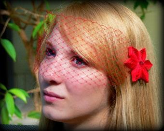Bright Red Wedding Veil