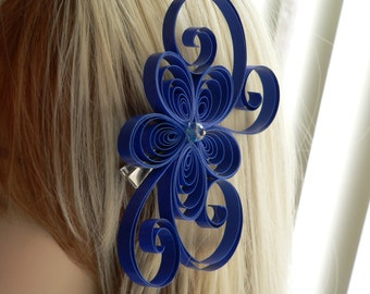 Unique Royal Blue Flower Hair Clip, Wedding Blue Hair Accessory