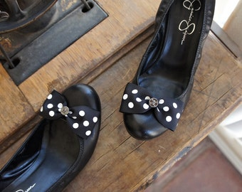 Olivia Paige -Pin up polka dot steampunk  Skulls bows  Shoe Clips