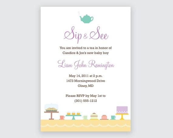 Printable Sip & See Invitation Tea Invitation by ...