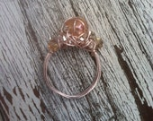 Marie Antoinette's Champagne Bubbles wire wrapped ring - rose gold, freshwater pearl, clear quartz, champagne glass stones