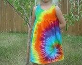 Tie dye girls empire waist dress sizes baby through 12 girls