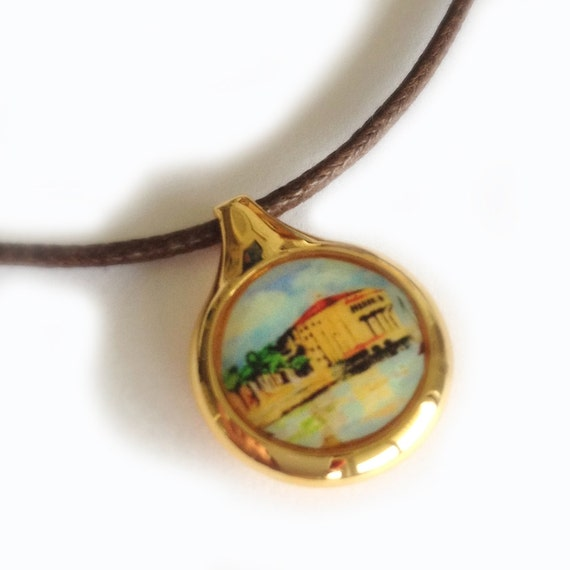 Miniature Landscape Watercolor Gold Catalina Island Casino Necklace on Brown Cord