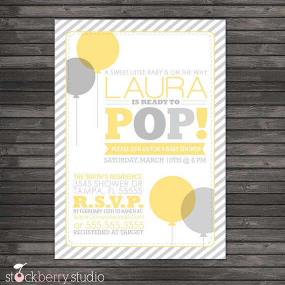 ready to pop baby shower invitation printable yellow gray baby