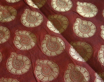 SALE Rusty Brown Medallians - 1 yard of Cotton Silk Brocade Fabric in Brown with gold