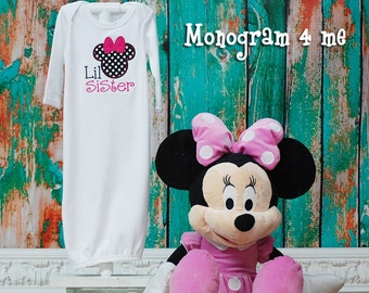 Little Sister Hot Pink Minnie Mouse baby Gown, Girls Sibling shirt, Newborn Gown, Baby gift