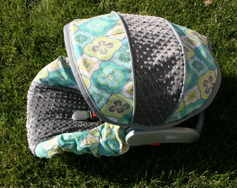 Baby car seat cover, Neutral baby cover, Infant car seat cover set- Custom Order Comes with Free Strap Covers