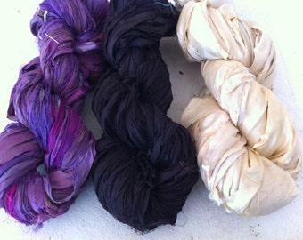 Sari silk ribbon. 150g. Art yarn. Mixed bag 3 x 50 grams of craft ribbon for jewelry making, knitting and more.