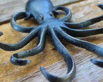 Distressed Ebony Black Octopus Key Hook-Beach House Decor-Coastal Decor-Wall Hanging-Key Hanger-Outdoor Style-Autumn Fall Decor-Rustic Home