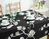 Black White Flowers Butterfly Tablecloth 56inch----100% Cotton Canvas Choose Lace Trim - artwhitepear