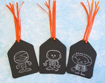 Halloween Gift Tags - Set of 12 Skeleton & Mummy Party Favor Tags