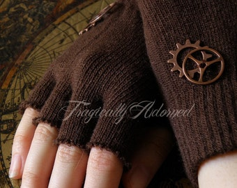 Clearance Item 40% Off Brown Steampunk Cut-Off Copper Gear Gloves One Size Fits All