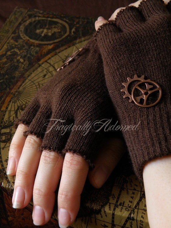 Clearance Item 30% Off Brown Steampunk Cut-Off Copper Gear Gloves One Size Fits All