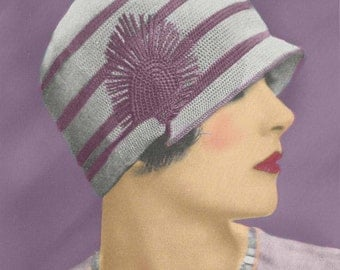 Vintage 1920's Flapper Crochet Cloche Hat Pattern, Downton Abbey ~