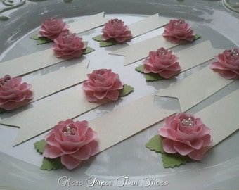 Paper Flower Place Cards - Escort Cards - Pink - Weddings - Table Decorations - Set of 100 - Made To Order