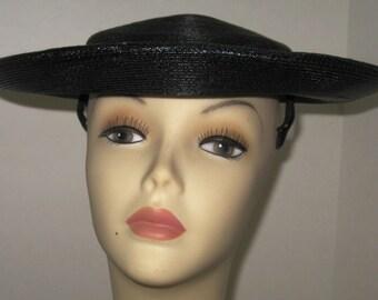 Black Straw Wide-Brim Hat