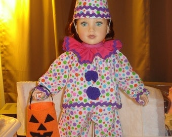Colorful polka dot clown costume for 18 inch Dolls - ag192