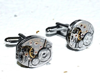 LONGINES Men Steampunk Cufflinks -RARE Luxury Swiss Large Silver Vintage Watch Movement Men Steampunk Cufflinks Cuff Link Men Wedding Gift