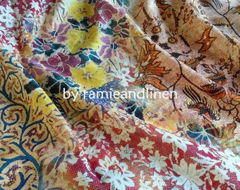 "silk fabric, digital printed ancient pattern silk cotton blend fabric, one yard by 52"" wide"
