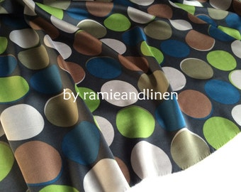 "silk fabric, double georgette silk fabric, colorful polka dots, dress fabric, half yard by 54"" wide"