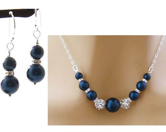 Royal Blue Pearl Jewelry Set, Earring Necklace Set, Blue Jewelry Set, Special Occasion Jewelry, Choose Your Color