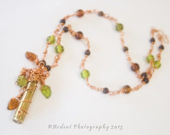 Bullet Necklace Autumn Copper Green Brown Leaves Wire Wrapped Brass Casing - Falling Brass - Ardent Life Eclectic Art Necklace