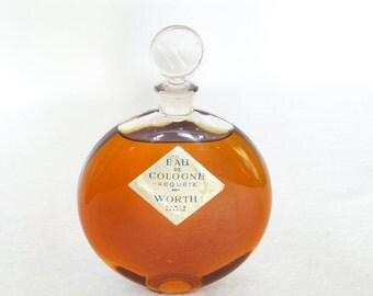 Vintage 1940s Perfume Unopened Worth Cologne Lalique Bottle Requete Eau de cologne 9 oz