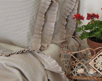country French linen and ticking  blanket throw / bed runner / bed scarf