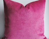 Raspberry Orchid VELVET Pillow Cover - Decorative Pillow Cover - BOTH SIDES - Rose throw pillow - lumbar pillow square pillow- chenille