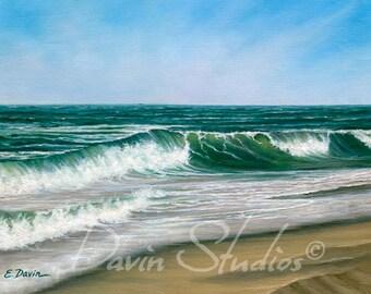 "Waves crashing, ocean art, ocean seascape, original painting called ""Serenity."""