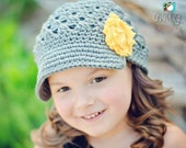 Gray Grey Newsgirl Newsboy Crocheted Hat with Yellow Shabby Flower Clip - All sizes available