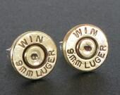 Bullet Casing Earrings, Stud, 9mm Luger with Sterling Silver Posts, Bullet Stud Earring, Gift for Her, 9mm Earrings, Handmade Bullet Earring