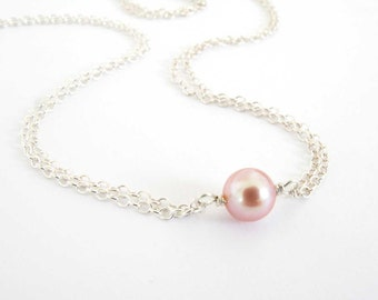 Single Pearl Necklace, Double Strand Sterling Silver Chain, Mauve Freshwater Pearl Necklace, Natural Color Pearl Necklace, Genuine Pearl