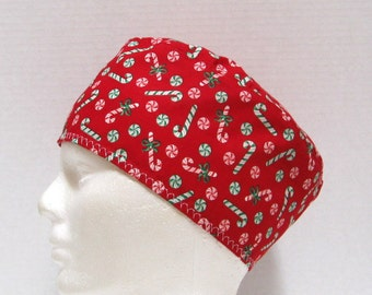 Christmas Red Mens Scrub Hat with Red and Green Candy Canes