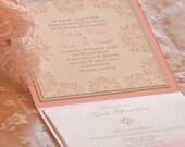 Wedding Invitation -Romantic Wedding Invitation - Pocket Invitation - French Pocketfold Wedding Invitation - SAMPLE