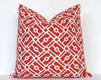 Red Geometric Decorative Designer Pillow Cover 18 Accent Cushion cream hollywood regency polka dot spots duralee scarlet ruby Valentines Day