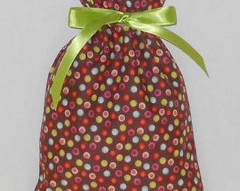 Multi-Colored Dots on Brown Small Fabric Gift Bag - Polka Dots, Small Dots, Lime Green, Blue, Pink, Red, White, All Occasion