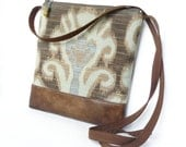 Cross Body Bag, Fabric Hip Bag, Pouch Purse -  Sedona Tapestry in Blue, Taupe and Mint