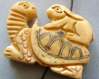 Ox Bone Carved Turtle Tortiose Rabbit Pendant Bead 33mm x 25mm  T1767