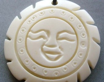 White Ox Bone Carved Sun Face Pendant 34mm x 34mm  T1776