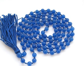 6mm Round Blue Stone Knotted 108 Prayer Beads Tibetan Buddhist Rosary Beads Mala  ZZ286