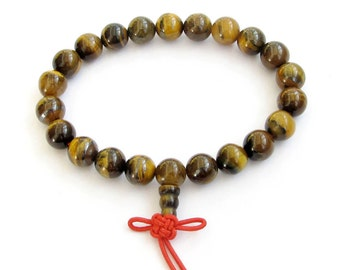 Tibet Buddhist Genuine Tiger Eye Stone Prayer Beads Meditation Wrist Mala Bracelet 8mm  T0751