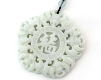 Natural Stone Good Blessing FU Five Bats Pendant One Bead For Handwork 54mm x 54mm  TH279